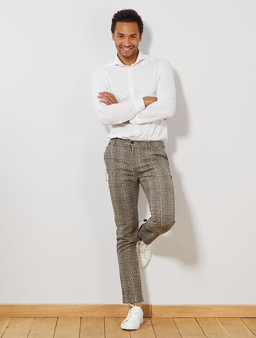 Pantalon slim en lainage à carreaux                             beige/marron/noir