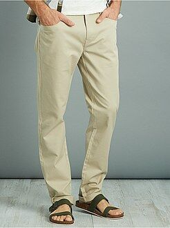 Pantalon slim en piqué de coton stretch