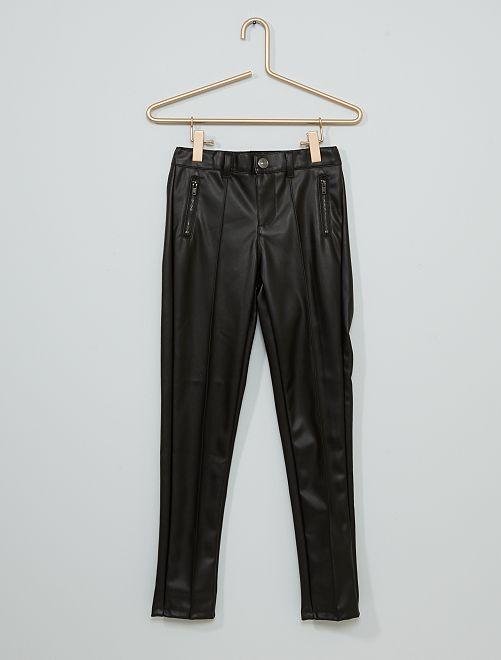 Pantalon slim en simili                             noir