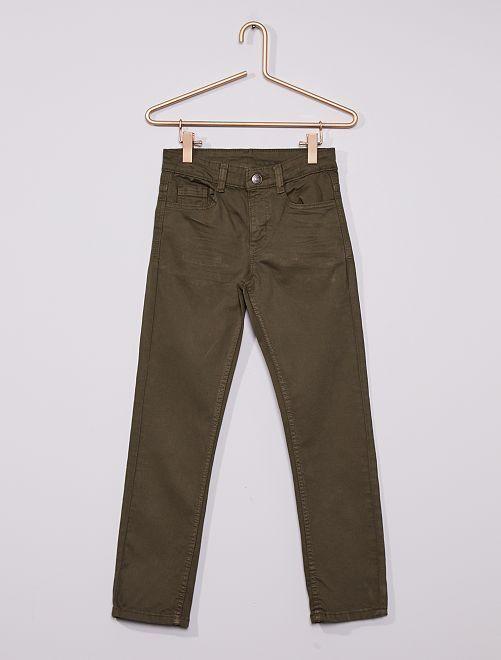 Pantalon slim en twill éco-conçu                                                                                                                                                     vert foncé