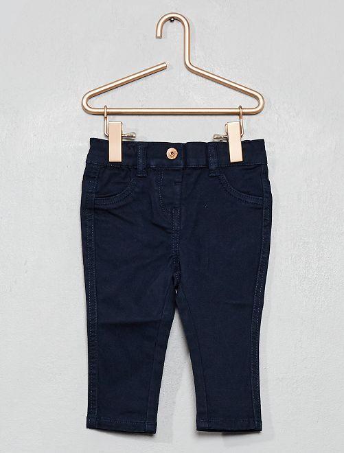 Pantalon slim en twill stretch                                                                             bleu marine