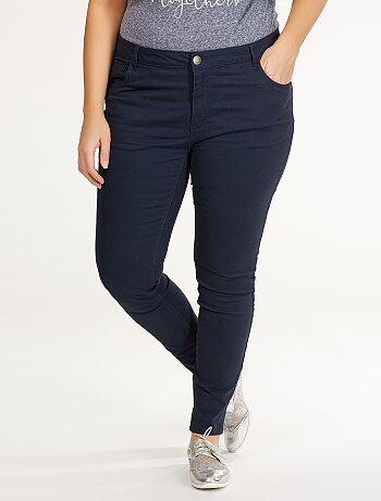 Pantalon slim en twill stretch                                 bleu marine Grande taille femme