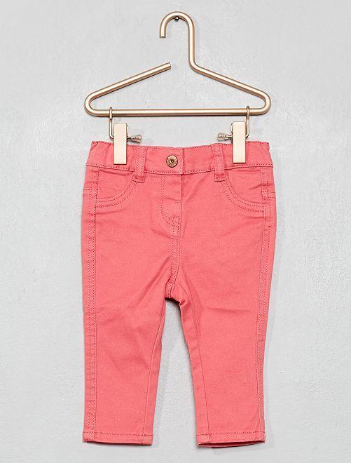 Pantalon slim en twill stretch                                         rose