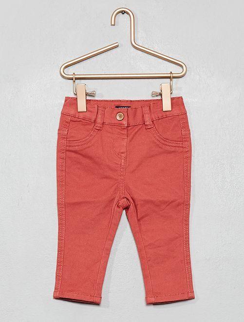 Pantalon slim en twill stretch                                                                             rose rouille