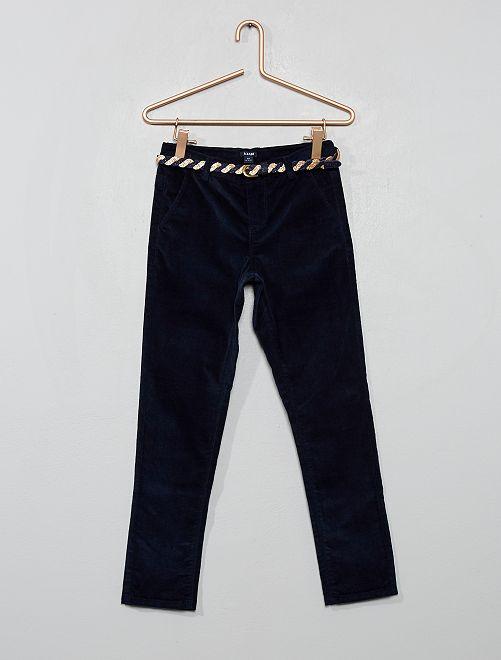 Pantalon slim en velours + ceinture                             bleu marine