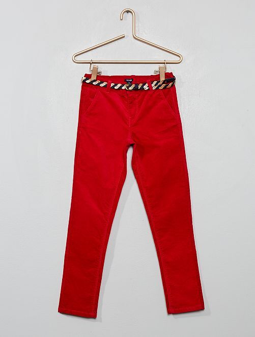 Pantalon slim en velours + ceinture                                         rouge groseille