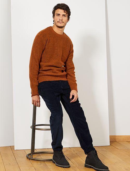 Pantalon slim en velours côtelé                                         bleu foncé