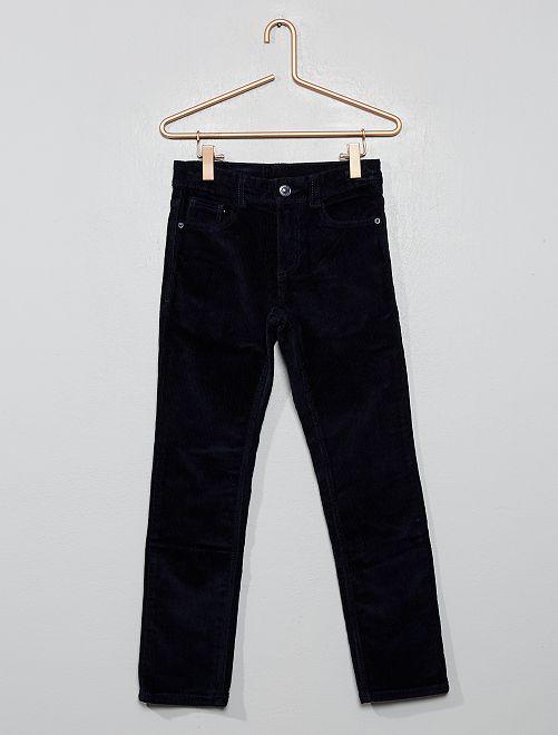 Pantalon slim en velours côtelé                     bleu marine