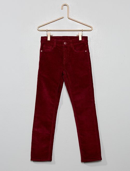 Pantalon slim en velours côtelé                                                                             bordeaux