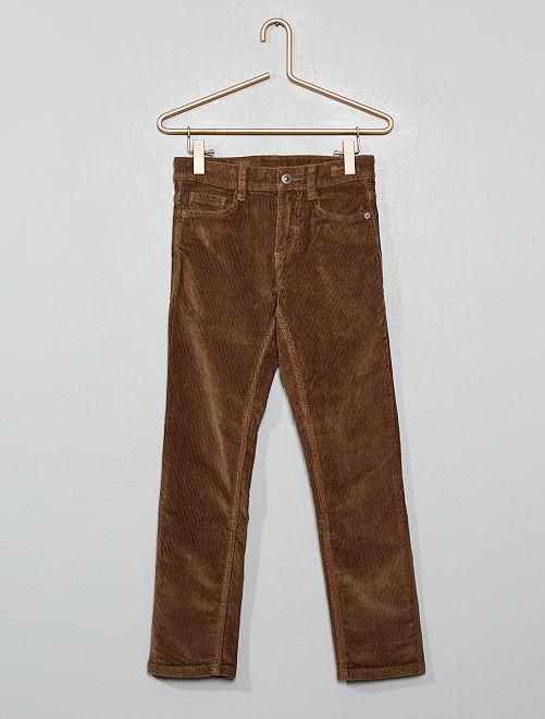 Pantalon slim en velours côtelé                                                                             gris beige