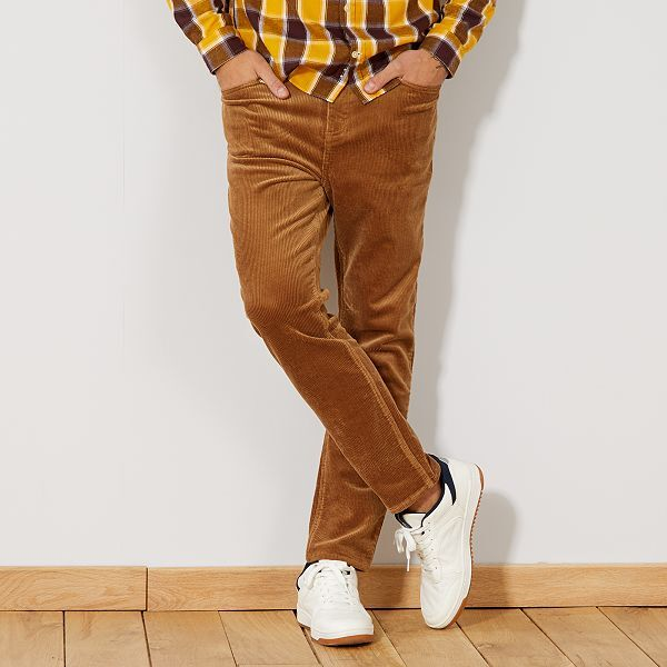 pantalon slim en velours grosses c tes homme beige kiabi 25 00