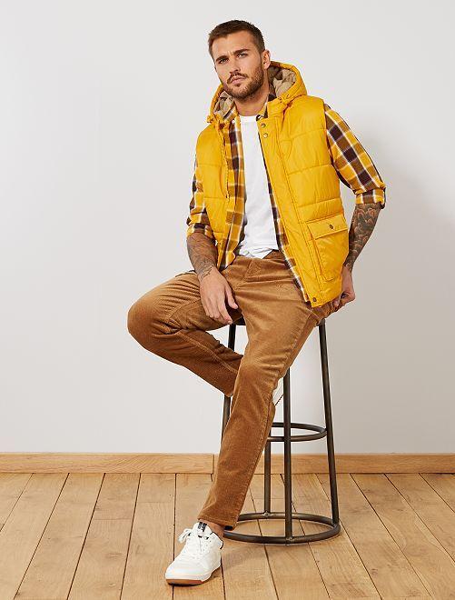 Pantalon slim en velours grosses côtes                             beige