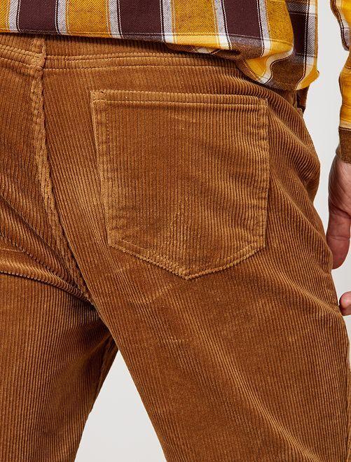 pantalon slim en velours grosses c tes homme beige kiabi 12 50