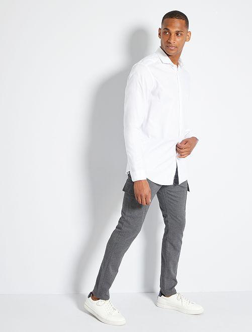 Pantalon slim flanelle                             gris