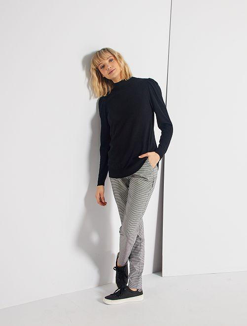 Pantalon slim imprimé 'pied de puce'                             carreaux noir/blanc