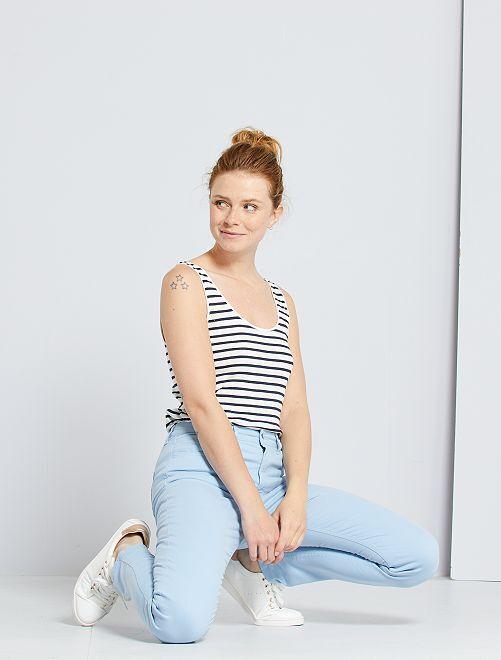 Pantalon slim multipoches                                                                                                                                                                 bleu clair