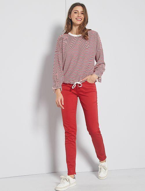 Pantalon slim multipoches                                                                                                                                                                 rouge pompier