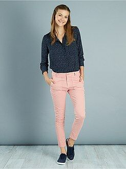 Pantalon rose - Pantalon slim poches cargo toucher doux