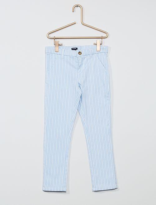Pantalon slim stretch                                                                 bleu clair rayé