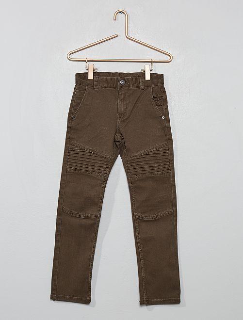 Pantalon slim style 'biker'                                                     kaki