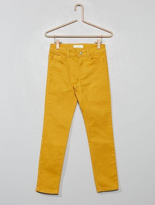 Pantalon slim uni                                                                                         jaune