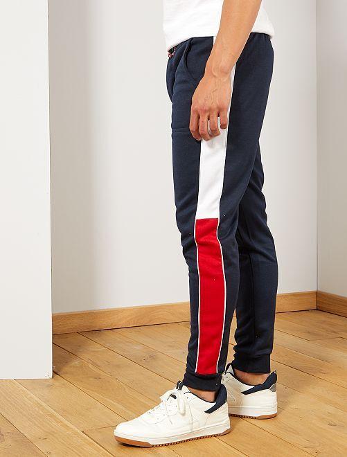 Pantalon sport bandes côtés                             bleu marine Homme