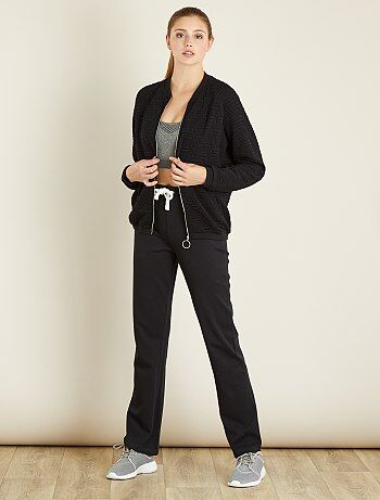 Pantalon sport coton molletonné                                 noir Femme