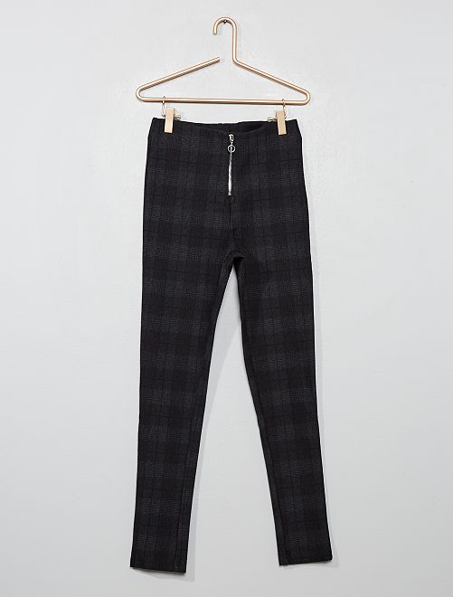 Pantalon stretch à carreaux                                         gris