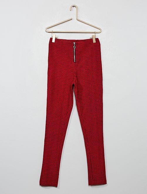 Pantalon stretch à carreaux                                         rouge