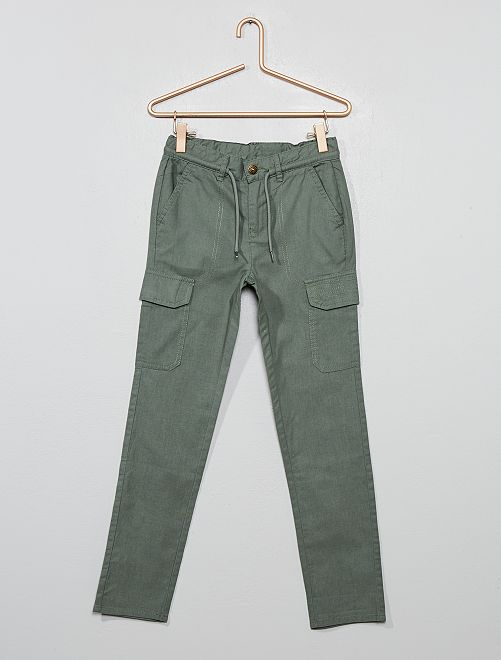 Pantalon style battle en canvas pur coton                                         kaki