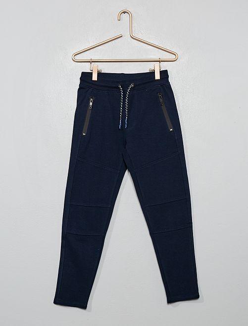Pantalon style jogging en molleton piqué                                                                 bleu marine