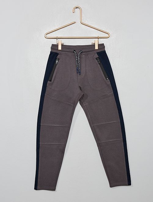 Pantalon style jogging en molleton piqué                                                                 gris/marine