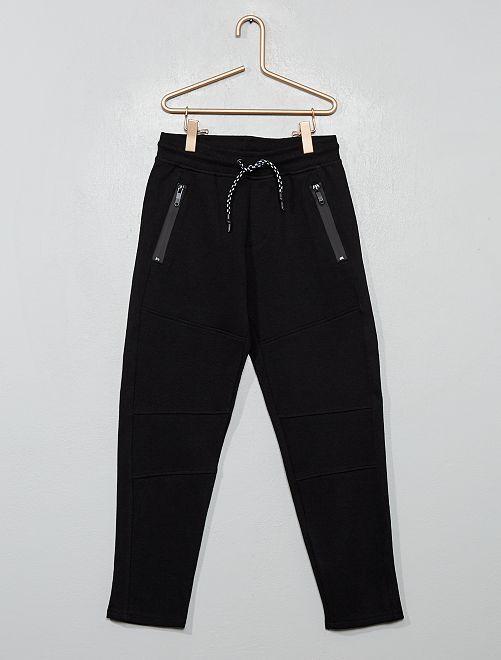 Pantalon style jogging en molleton piqué                                                                 noir