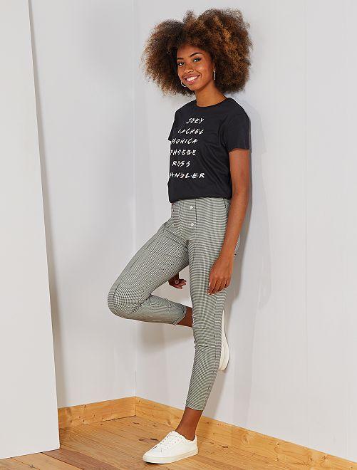 Pantalon style officier                                                     noir/blanc Femme