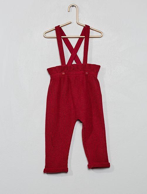 Pantalon style sarouel à bretelles                                         rouge foncé