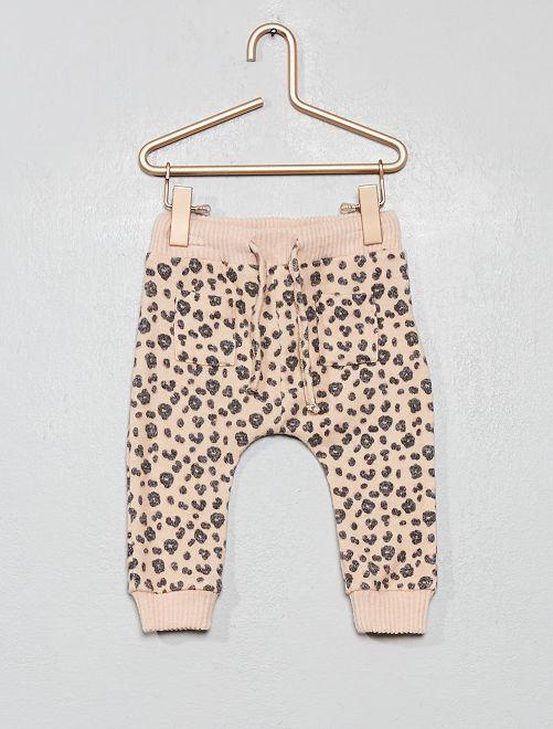 Pantalon style sarouel                     rose léopard