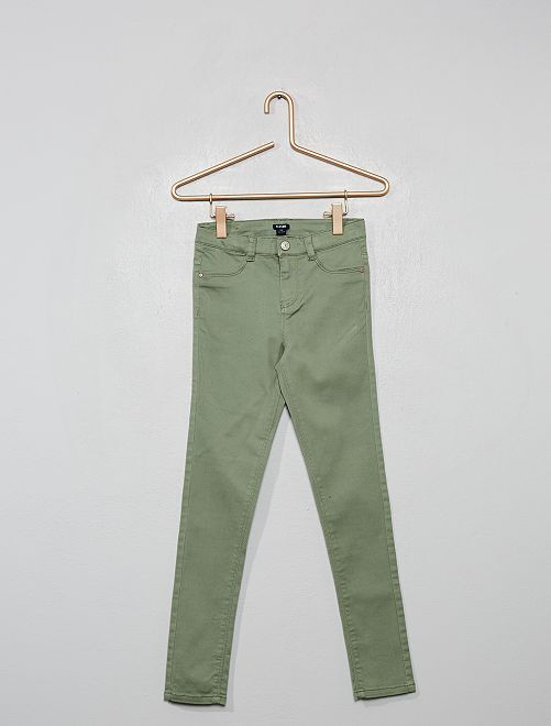 Pantalon super skinny taille haute                                         vert