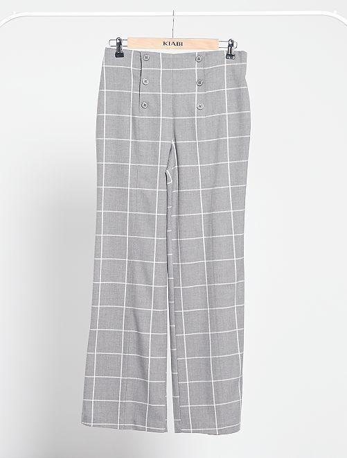 Pantalon taille haute à carreaux                             carreaux gris