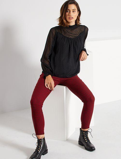 Pantalon taille haute à carreaux                                         rouge vichy