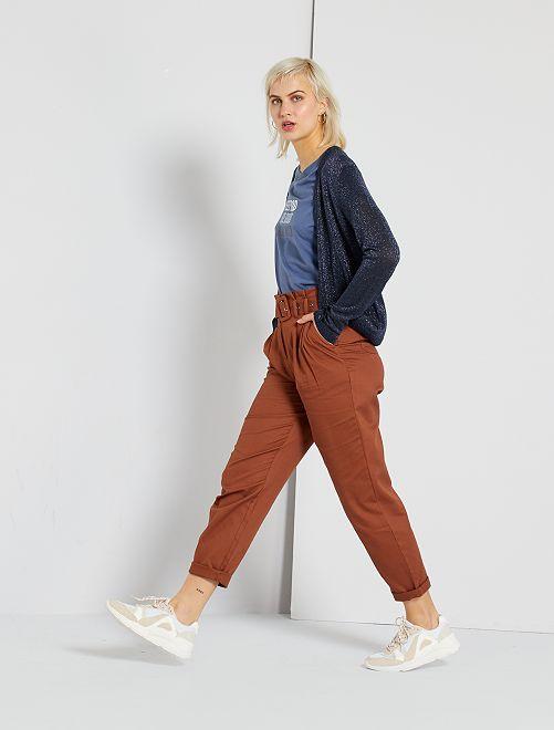 Pantalon taille haute                                         brun