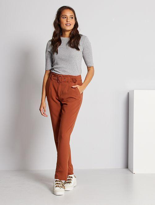 Pantalon taille haute habillé                     marron