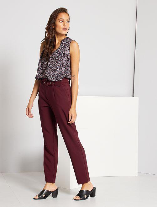 Pantalon taille haute habillé                                         rouge
