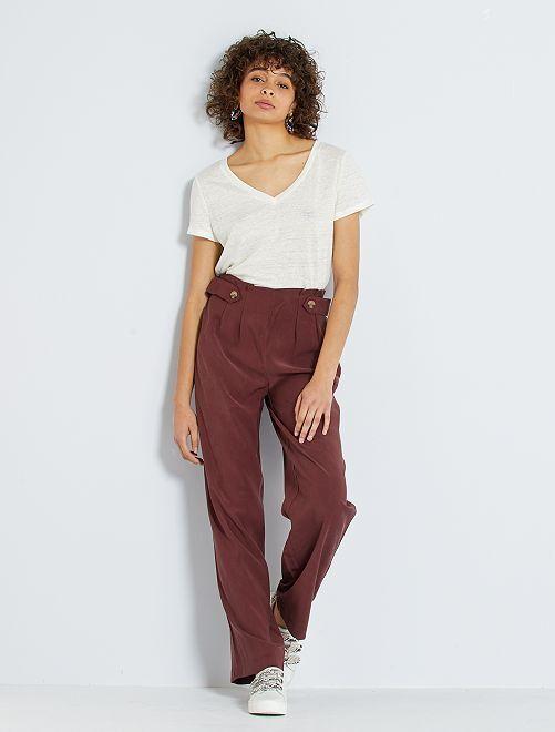 Pantalon taille haute large et fluide                             marron