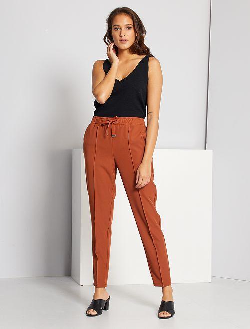 Pantalon taille haute                                                     marron
