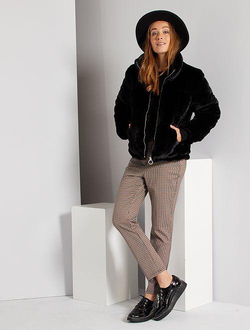 Pantalon taille haute pied de puce                             marron carreaux