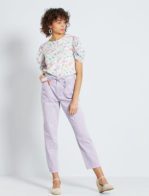 Pantalon taille haute resserré dans le bas                             lilas