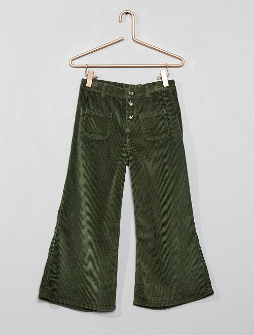 Pantalon trompette en velours 7/8ème                                                     vert thym