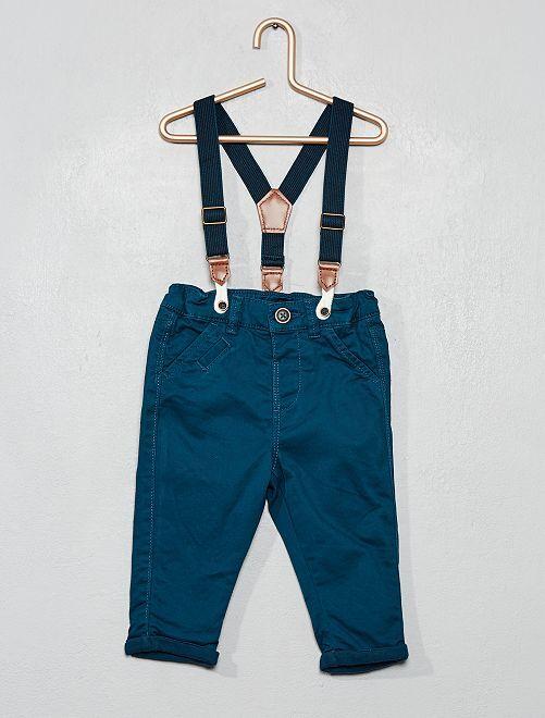 Pantalon twill à bretelles                                         bleu