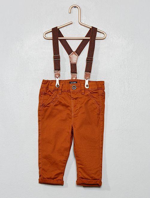 Pantalon twill à bretelles                             marron
