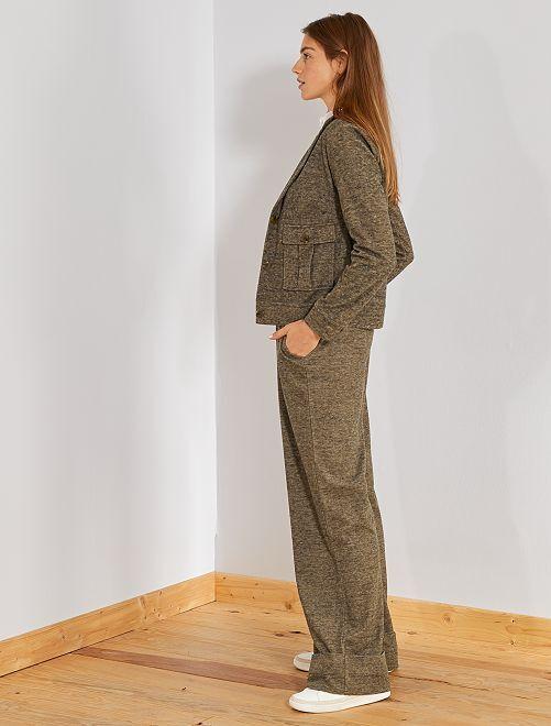Pantalon ultra-large en maille douce chinée                             marron Femme